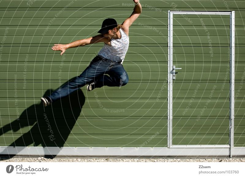 Human being Man Green Sports Jump Style Movement Stone Contentment Power Door Flying Lifestyle Action Modern
