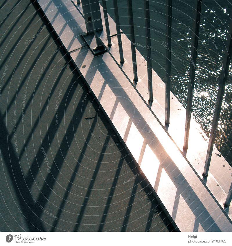 Water Sun Summer Line Metal Glittering Tall Crazy Bridge Corner River Thin Handrail Geometry Brook Rod