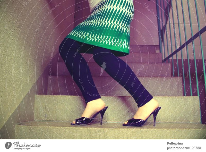 stairway to the 50s The fifties High heels Staircase (Hallway) Violet Magenta Seventies Pattern Green Woman Rod Wall (barrier) Wall (building) Knee Posture