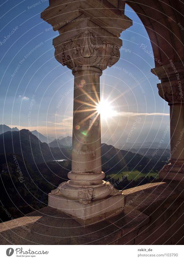 Kini´s Balcony I Bavaria Allgäu Neuschwanstein Sunset Dazzle Romance Cinderella Crazy Panorama (View) Vantage point Landmark Monument Summer Mountain feet