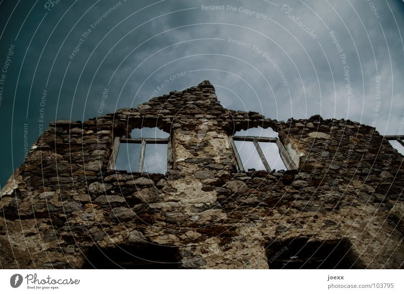 Homeless House (Residential Structure) Sky Storm clouds Bad weather Thunder and lightning Deserted Ruin Wall (barrier) Wall (building) Window Stone Old Dark
