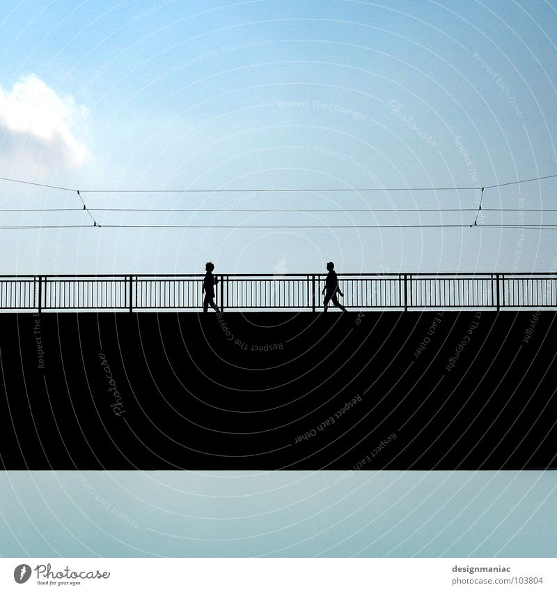 sky bridge Clouds Light blue Black Going Cable Connect Direction Harmonious In step Parallel Sky Pure Bridge Blue Human being Contrast Silhouette Equal Clarity