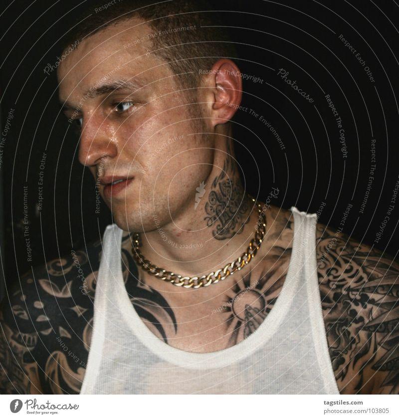 Man Hand Power Gold Skin Wet Force T-shirt Shirt Prayer Tattoo Chain Transparent Guy Neck Hardcore