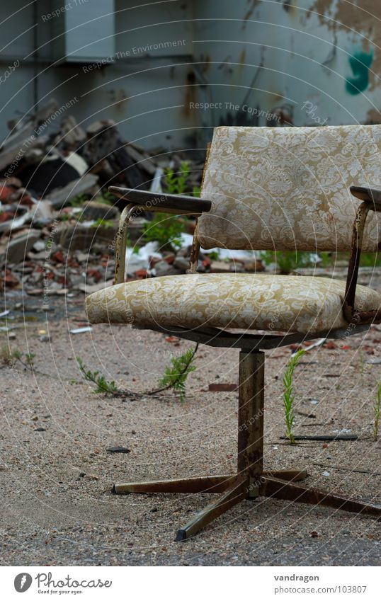 On a lost item Chemnitz Furniture Doomed Loneliness Forget Building rubble Bakery Ruin Ancient Pattern Office chair Chair Sit Old Dirty Industrial Photography