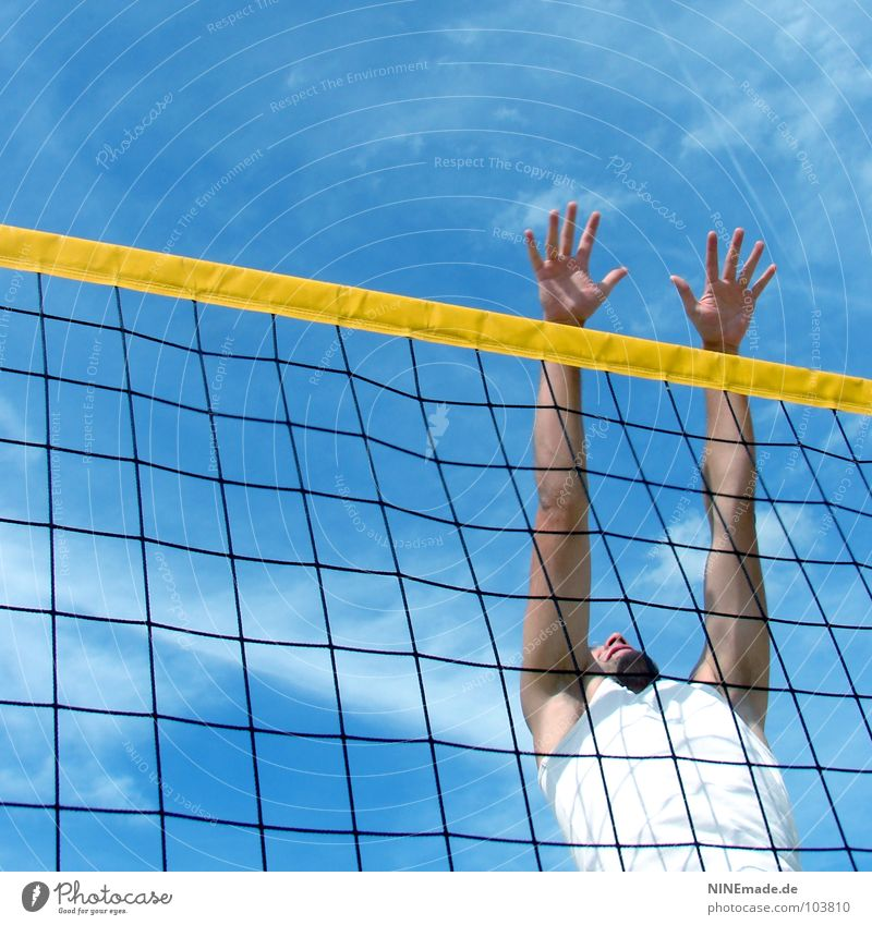 one-man block Block Jump Grating Yellow Black White Sky blue Clouds Hand Volleyball (sport) Fingers Man Square Summer Physics Beautiful Beach Sporting event