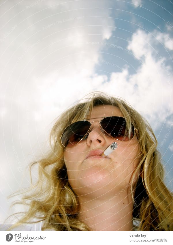 Woman Human being Sky Blue Summer Face Clouds Loneliness Blonde Search Clothing Eyeglasses Smoking Smoke Cigarette Boredom