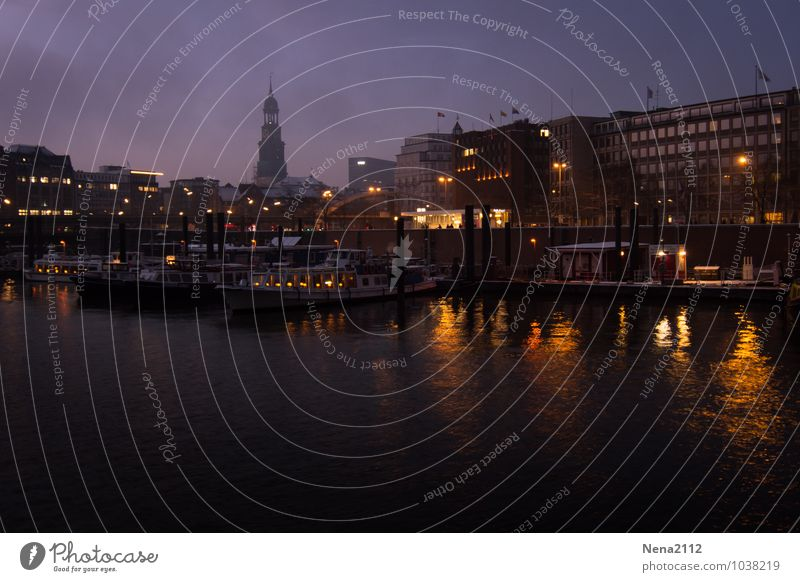 night feeling Town Port City House (Residential Structure) Church Harbour Architecture Dark Hamburg Elbe Watercraft Sky Colour photo Exterior shot Deserted