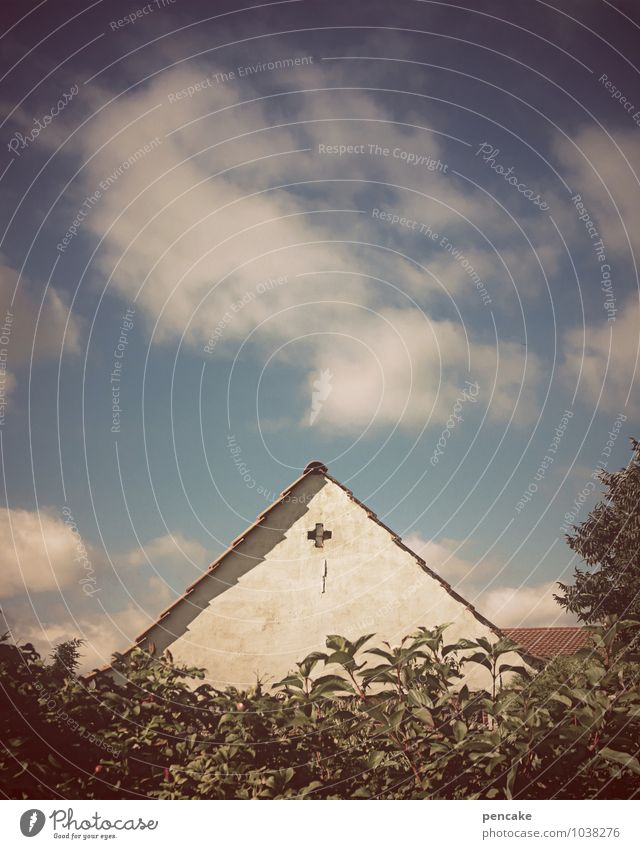 Sky Blue White Summer Clouds House (Residential Structure) Living or residing Idyll Infancy Happiness Simple Beautiful weather Roof Elements Retro Sign