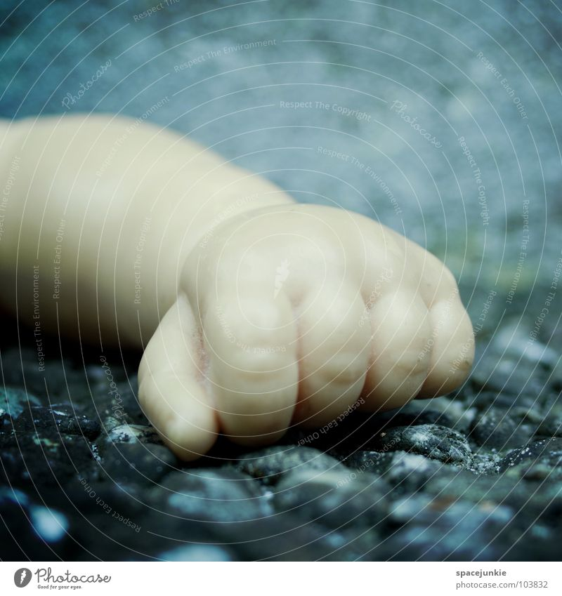fist Toys Hand Fist Loneliness Cold Fingers Grief Distress Doll Statue Stone Blue