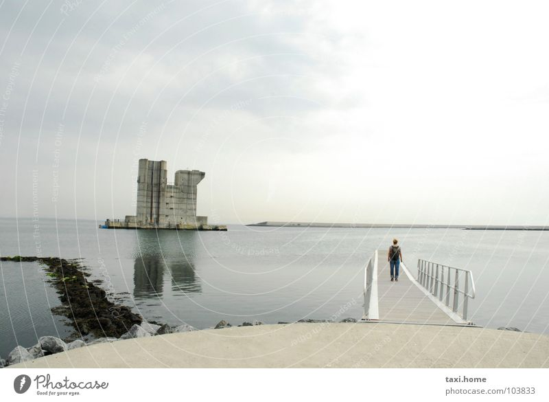 Sky Water Ocean Beach Clouds Coast Gray Stone Building Horizon Weather Concrete End Infinity Mirror Castle