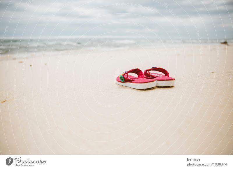 life is a beach Flip-flops Sun Beach Sand Ocean Coast Asia Bali Indonesia Vacation & Travel Sandal Pink Deserted Travel photography Summer vacation Blue sky