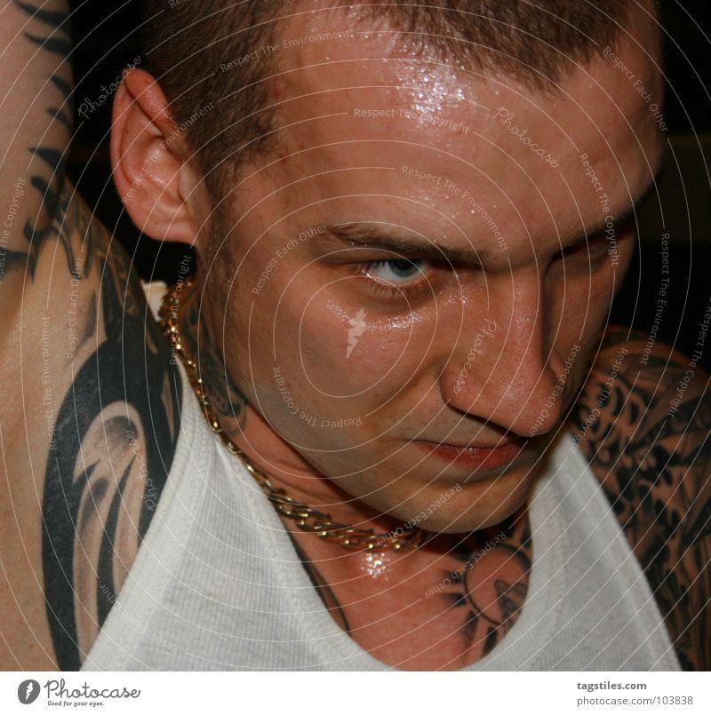 Man Power Gold Skin Wet Force T-shirt Shirt Tattoo Transparent Chain Guy Neck Hardcore Perspire Music