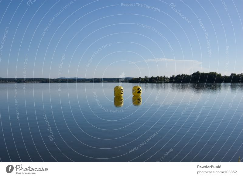 Signs in the sea Yellow 3 2 Tree Panorama (View) Franconia Waves Wood flour Forest Reflection Germany Bavaria Water three two balloons trees altmühlsee