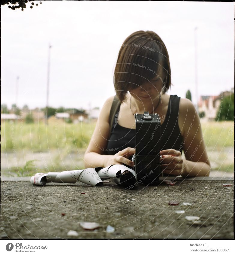 Woman Laboratory Photography Art Film industry Camera Seagull Concentrate Disaster Photographer Artist Exposure Take a photo Brandenburg Cottbus Medium format