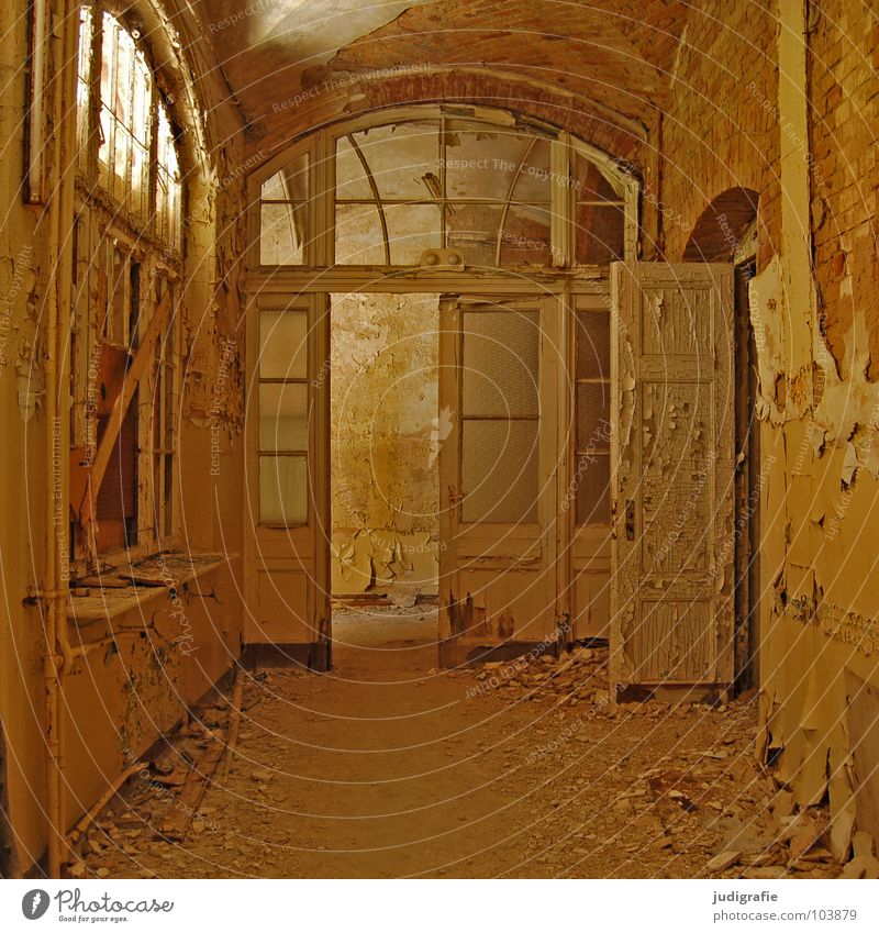 sanatorium House (Residential Structure) Ruin Building Window Door Old Sadness Creepy Broken Loneliness Fear Colour Transience Entrance Hallway Plaster Possible