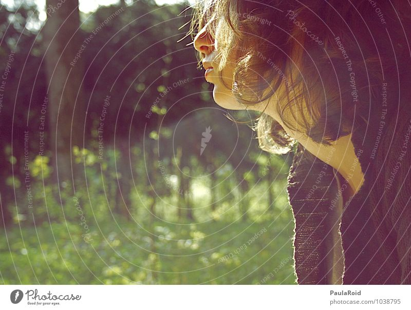 Life's circus. Feminine Young woman Youth (Young adults) Head Hair and hairstyles Nose Mouth Neck 1 Human being Sunlight Summer Beautiful weather Grass Forest