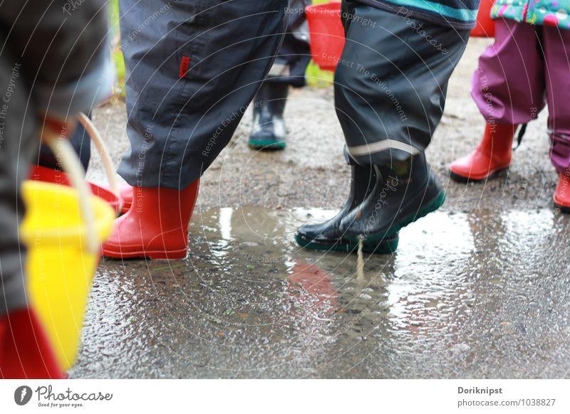 pitch pitchy-pitchy Joy Playing Human being Toddler Feet 1 - 3 years Autumn Bad weather Rubber boots Movement Discover To enjoy Simple Together Funny Gray