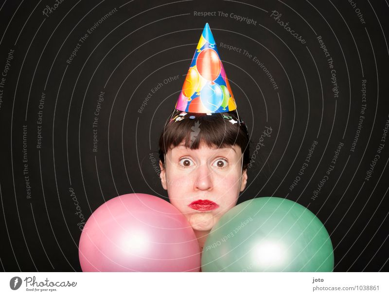 Inflated Joy Night life Party Feasts & Celebrations Carnival New Year's Eve Birthday Human being Bangs Balloon Funny Curiosity Crazy Pink Moody Enthusiasm
