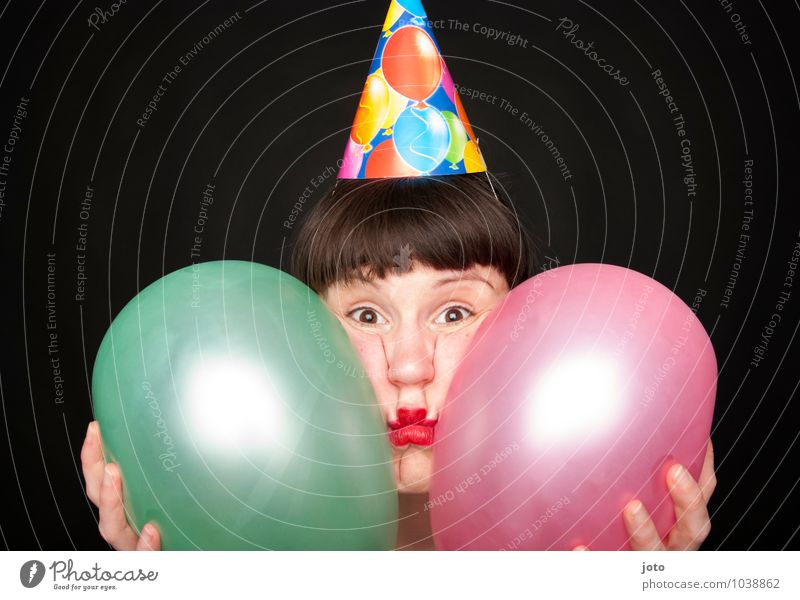 Human being Woman Loneliness Joy Adults Funny Feasts & Celebrations Pink Party Birthday Crazy Curiosity Balloon New Year's Eve Surprise Carnival