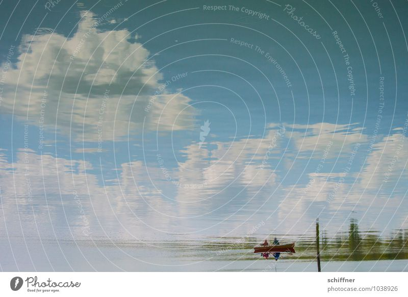 skyboat Human being Couple Partner 2 Water Sky Clouds Lakeside Lake Ammer Wet Blue Reflection Mirror image Watercraft Boating trip Rowboat Rowing Romance