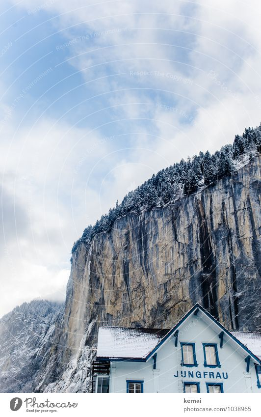 virgin house Vacation & Travel Tourism Trip Adventure Winter Snow Winter vacation Mountain Landscape Elements Sky Clouds Sunlight Forest Rock Alps Cliff