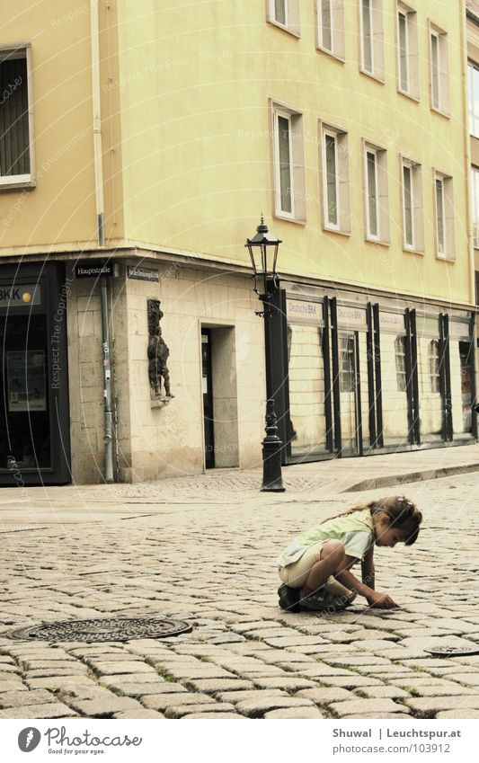 Child Girl City House (Residential Structure) Loneliness Yellow Street Playing Window Gray Germany Hope Future Gloomy Protection Transience
