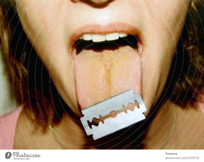 Woman Face Feminine Hair and hairstyles Mouth Open Dangerous Teeth Sheep Razor Tongue Razor blade Spit