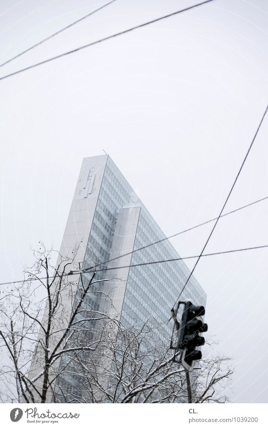 peep up Economy Business Environment Nature Sky Winter Weather Ice Frost Snow Tree Duesseldorf Town High-rise Manmade structures Building Architecture Transport
