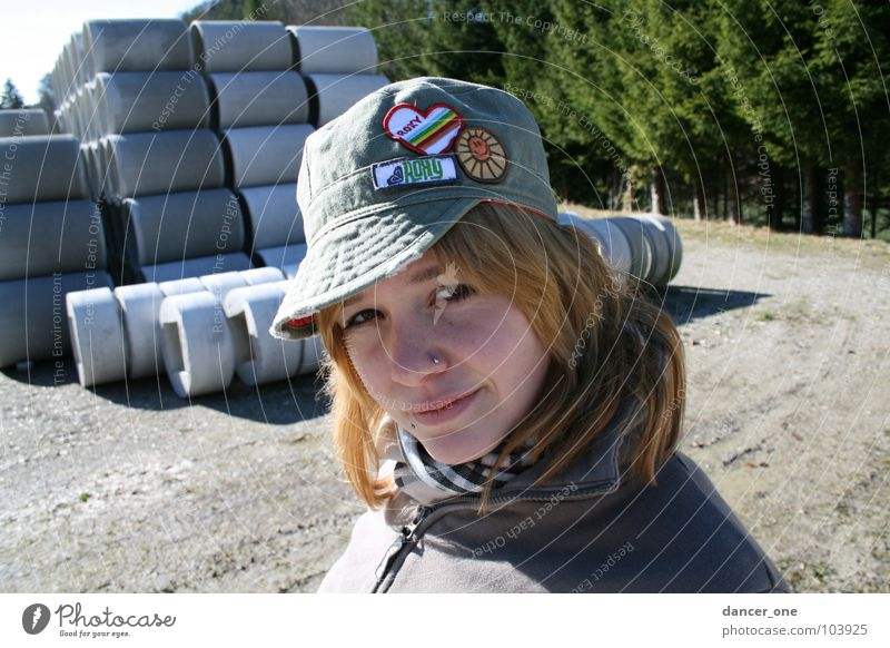 Woman Tree Concrete Construction site Industry Gravel Scarf Peaked cap Baseball cap
