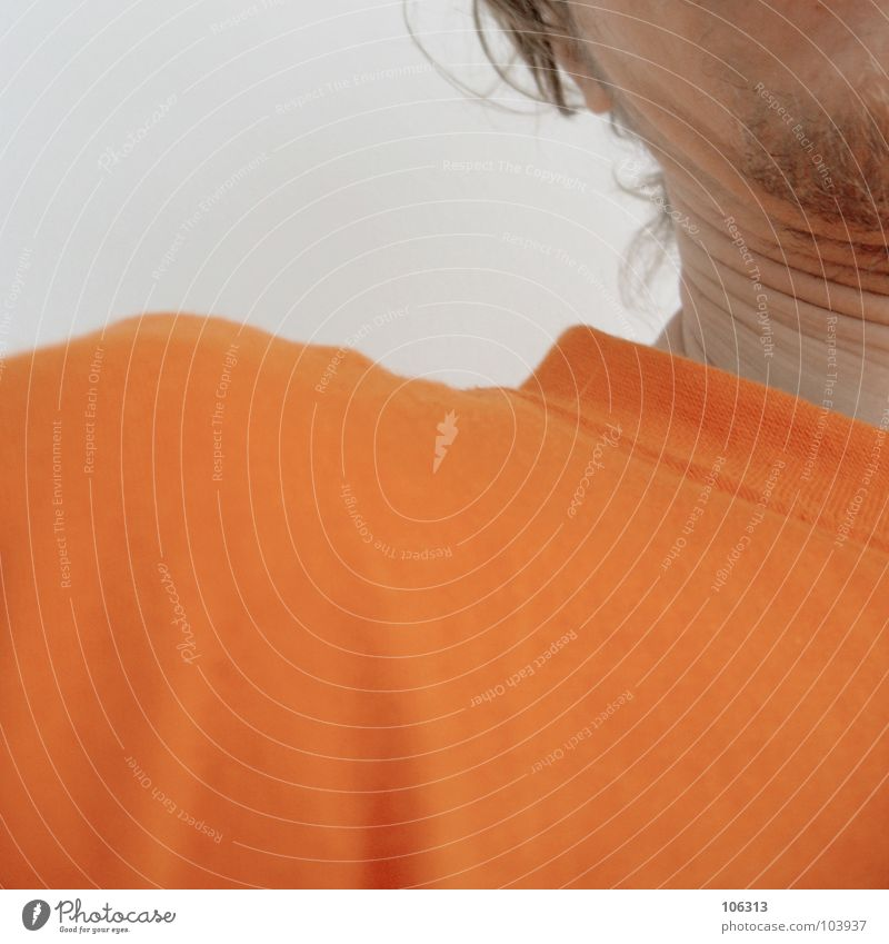 Human being Man Hair and hairstyles Think Orange Skin T-shirt Square Obscure Wrinkles Shirt Guy Fat Rotate Neck