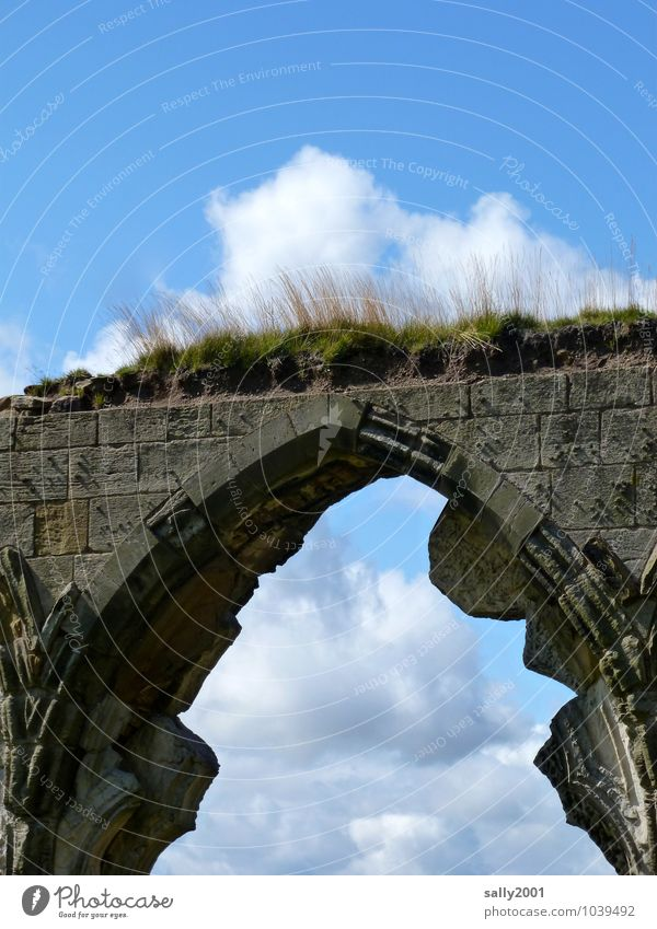 retro, it was once... Clouds Beautiful weather Grass Moss Church Castle Ruin Bridge Manmade structures Wall (barrier) Wall (building) Stone Old Growth