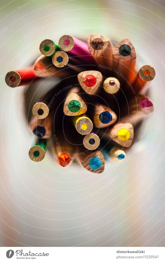 Pens I Stationery Draw Write Crayon Multicoloured Colour photo Interior shot Copy Space bottom Shallow depth of field