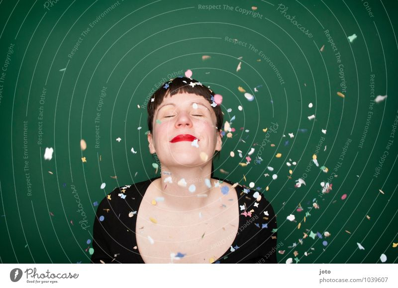 """confetti series """"green"""" Joy Happy Life Well-being Night life Party Feasts & Celebrations Carnival New Year's Eve Birthday Human being Young woman"""