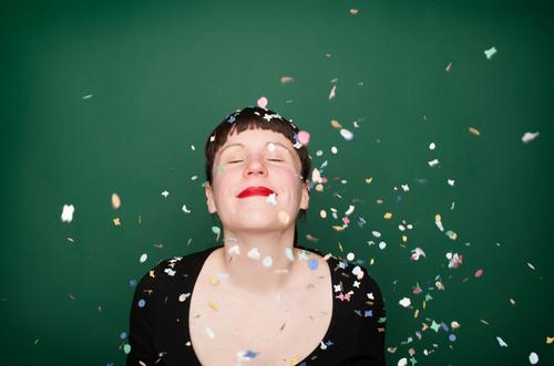 "confetti series ""green"" Joy Happy Life Well-being Night life Party Feasts & Celebrations Carnival New Year's Eve Birthday Human being Young woman"
