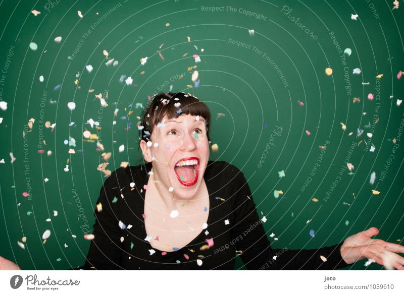 """confetti series """"green"""" Life Night life Party Feasts & Celebrations Carnival New Year's Eve Birthday Human being Young woman Youth (Young adults) To enjoy"""