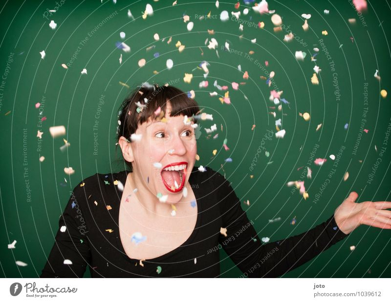 """confetti series """"green"""" Joy Happy Night life Party Feasts & Celebrations Carnival New Year's Eve Birthday Human being Young woman Youth (Young adults) To enjoy"""