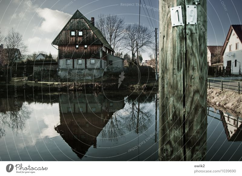 Sky Old Water Tree Loneliness Calm Clouds House (Residential Structure) Wall (building) Building Wall (barrier) Wood Facade Idyll Authentic Historic