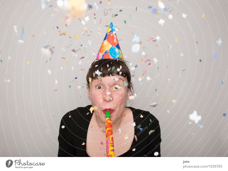 rosy Joy Happy Contentment Party Feasts & Celebrations Carnival New Year's Eve Birthday Human being Young woman Youth (Young adults) Smiling Throw Brash Free