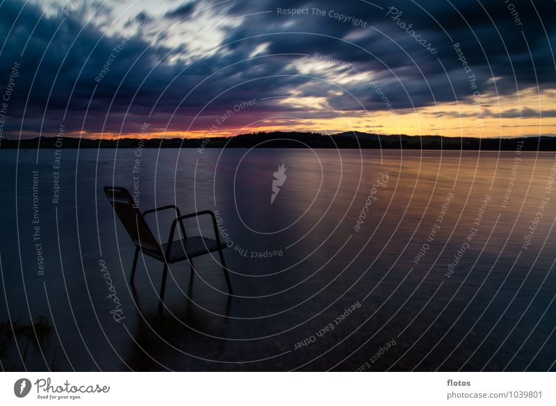 Take a seat! Landscape Water Sky Clouds Horizon Sunrise Sunset Summer Weather Hill Lakeside Chair Fluid Wet Blue Yellow Gold Gray Orange Red Black Nature