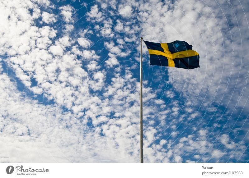 Sweden Flag Flagpole Clouds Wide angle Sky
