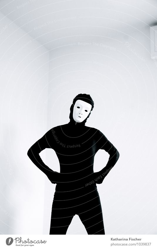 #1039837 Masculine Feminine Androgynous Human being 18 - 30 years Youth (Young adults) Adults 30 - 45 years 45 - 60 years Suit Mask Stand Black White