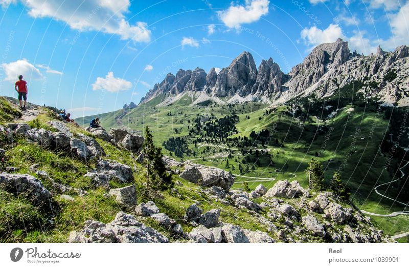 Dolomites Vacation & Travel Tourism Trip Adventure Summer vacation Mountain Hiking Human being 3 Group Nature Landscape Elements Earth Sky Clouds