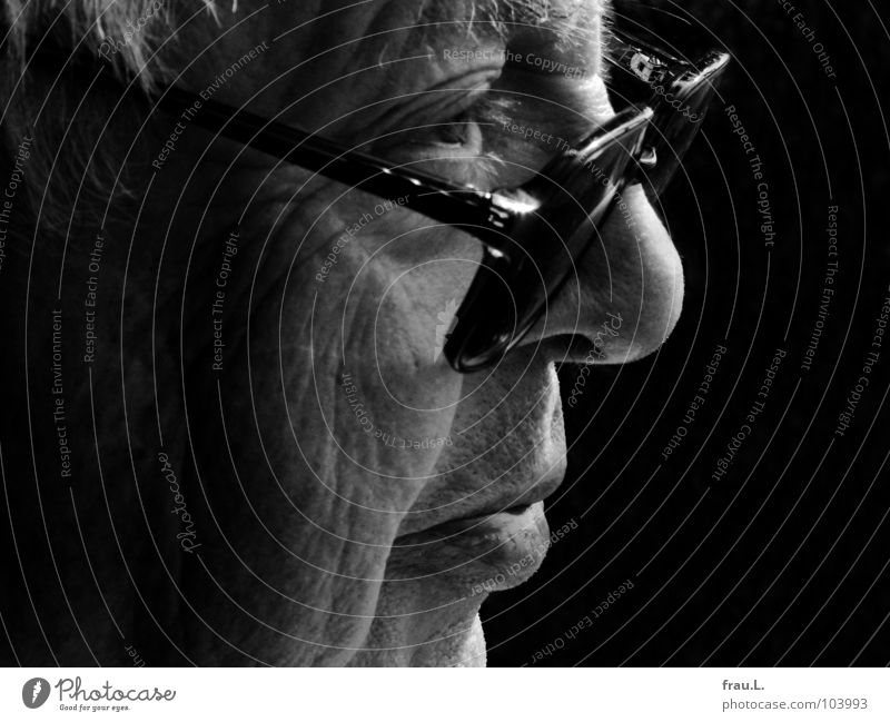 Man Old Face Senior citizen Dream Masculine Force Eyeglasses Observe Physics Wrinkles Past Grandfather Profile Wisdom Sensitive