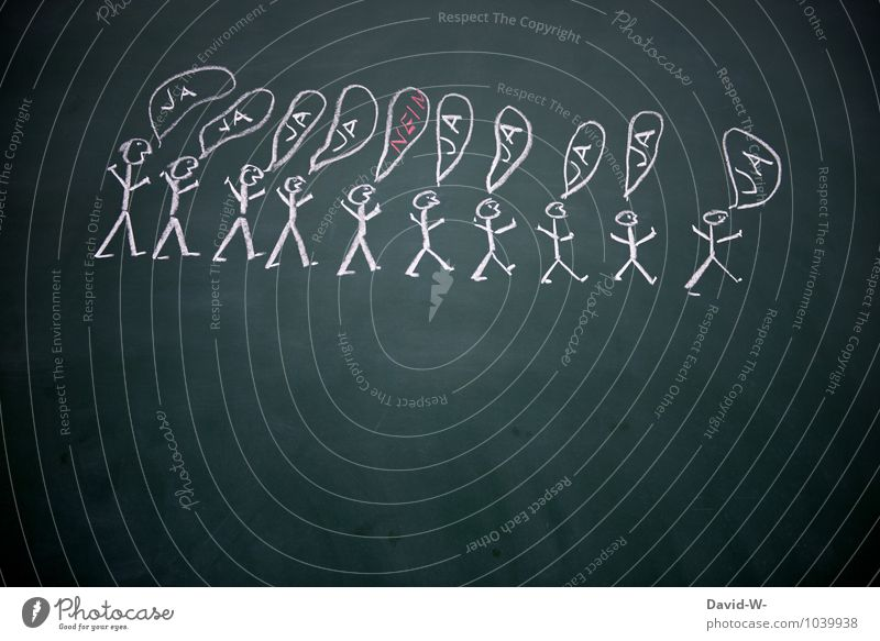 always stay yourself School Blackboard Workplace To talk Team Human being Life Group Crowd of people Characters Think Authentic Success Together Self-confident