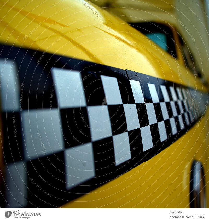 yellow racer Yellow Taxi Black White Checkered Diagonal Speed Traffic jam Hire car Transport USA Services ralley stripes yellow cab Car Rent showcar troublesome