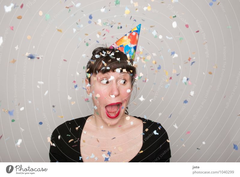 wtf Joy Happy Contentment Party Feasts & Celebrations Carnival New Year's Eve Birthday Human being Young woman Youth (Young adults) Laughter Throw Brash Free