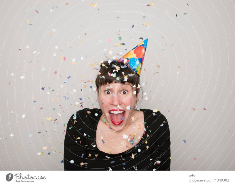 OMG Joy Happy Contentment Party Feasts & Celebrations Carnival New Year's Eve Birthday Human being Young woman Youth (Young adults) Laughter Throw Brash Free