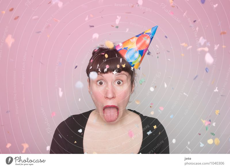 """Confetti series """"coloured"""" Joy Happy Party Feasts & Celebrations Carnival New Year's Eve Birthday Human being Young woman Youth (Young adults) Throw Brash Free"""