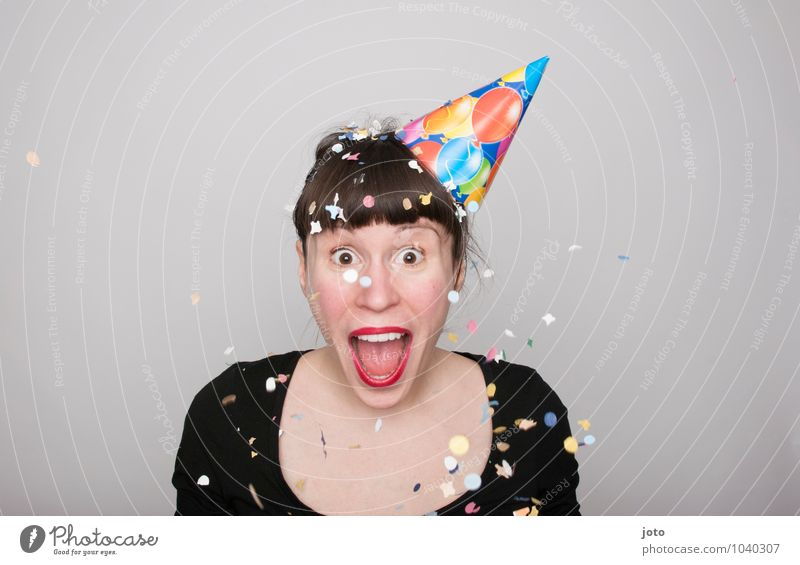 lol Joy Happy Contentment Party Feasts & Celebrations Carnival New Year's Eve Birthday Human being Young woman Youth (Young adults) Laughter Throw Brash Free