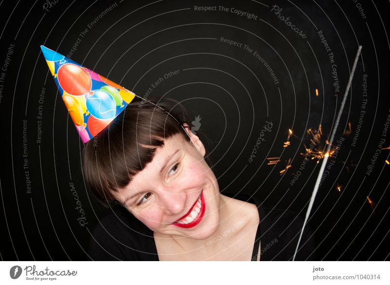 Happy Birthday Joy Night life Party Feasts & Celebrations Carnival New Year's Eve Human being Young woman Youth (Young adults) Hat Glittering Smiling Illuminate